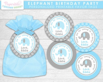 Elephant Theme Birthday Party Favor Tags | Blue & Grey | Personalized | Printable DIY Digital File