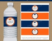 Graduation Water Bottle Labels Printable - DIY Orange & Navy Graduation Water Labels - EDITABLE Grad Party Decor Instant Download G6
