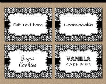 Editable Black and White Damask Food Labels, Printable Buffet Cards, Tent Cards, Candy Buffet Labels, Food Tags - Damask Labels - INSTANT