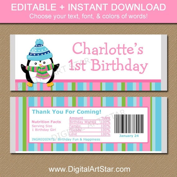 Editable Winter Birthday Chocolate Bar Wrappers Penguin
