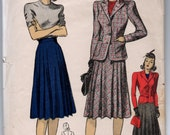 "1940's DuBarry Jacket and Pleated Skirt Pattern - Bust 32"" - No. 5142"
