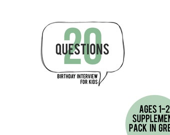 20 Questions Ages 1-2 Supplement Pack in GREEN