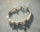 Pearl Bracelet, Sterling Silver, 14k Gold Fill, Charm