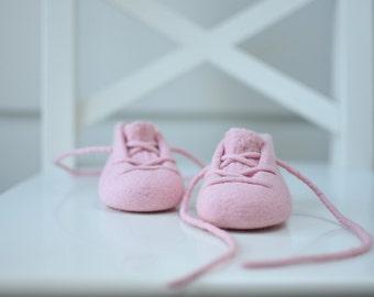 Baby Girl Booties - Light Pink Merino Footwear - Newborn Essentials - Pastel Pink Booties - Soft Pram Shoes - Girl Crib Booties