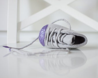 Glitter Baby Booties - Wool Felt Booties - baby Girl Felt Crib Shoes - Purple Glitter - Laced up Shoes for Her - Grey Booties - Felt Booties