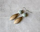 SALE 40% OFF - Geometric Brass Earrings, Pale Mint Earrings, Dangle Earrings