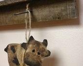 Cow Ornament - Made To Order, Primitive Barnyard Cow Ornaments, Christmas Tree Ornaments