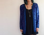 Royal Blue Sequin Jacket Vintage Party 80s Oversized