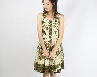 90s-does-70s Summer Dress, Boho Indian Ethnic pattern Cotton dress Beach dress, Small Medium 3742