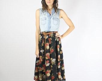 Vintage Floral Skirt, High waist Chiffon Swing skirt, XS Small