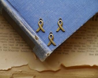 40 pcs Small Bronze Awareness Ribbon Charms 14mm (BC2876)
