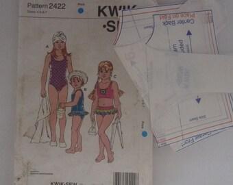 swimsuits Kwiksew 2422 sizes 4-7 one piece and bikini two piece bathers sewing pattern girls swimsuits kwik sew 2422 childs swimsuit ruffles