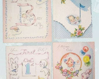4 Vintage New Baby Congratulations Greeting Cards Retro 1940s Baby Cards Scrapbooking Mixed Media Collage Nursery Decor Craft Supplies