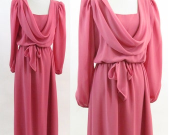 Vintage 1970's Pink Formal Gown - Long Sleeve Swoop neck Drape Athens Dress - Maxi Formal Party Dress - Size Medium to Large