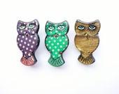 S A L E * * * * Vintage Kooky Polkadot Owl Pin