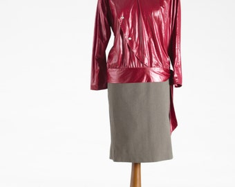 Outstanding Designed Jacket, Cherry-Red Jacket, Polyester Blouse-Jacket, Long Sleeves Jacket, Elegant Blouse, Unique Jacket, Women's Jacket
