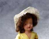 Nancy Ann Bisque Doll Collectible Storybook Dolls 1940s - Hand Painted Eyes - Mohair Wig