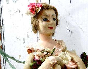 Vintage French Boudoir Doll RARE Glass Eyes Needs TLC / circa 1920's Cloth Body Composition Hands  Face // Flapper Wig // Large Size 29 Inch