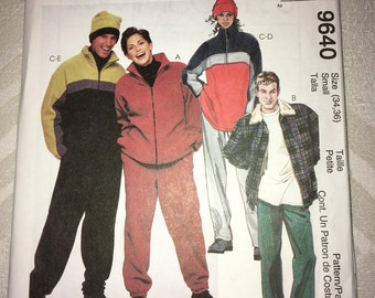 "Uncut McCalls #9640 Sewing Pattern for Unisex Jacket, Pullover Top w/ Zipper, Pants and Hat Size Small Bust 34-36"" YMA47R"