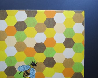 Retro Beehive Painting // Vintage Mid Century Mod Original Painting on Canvas Honeycomb Pattern Bee Orange Green Brown Yellow 1971 Wall Art