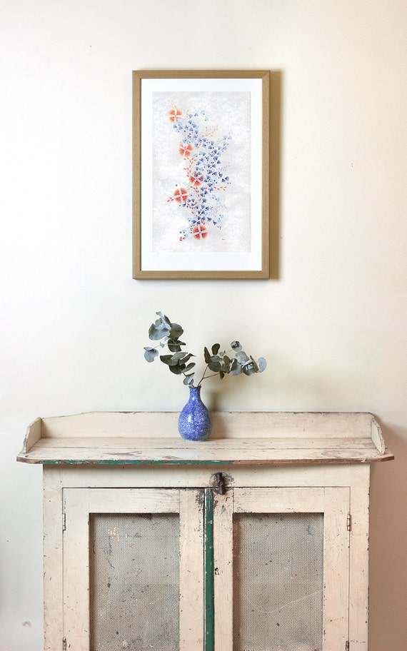 Archival Art Print 'Orange And Blue' on Cotton Rag Paper