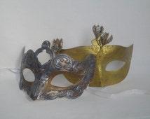 couples mask set, couples masquerade mask, couples masks, nature mask, druid mask,gold silver womens masquerade ball, mens masquerade domino