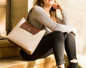 Felt and leather SHOULDER BAG, almond and brown, wool felt, handmade, high quality, made in Italy