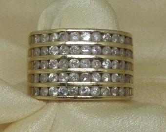 Diamond Channel Set 14k Ring