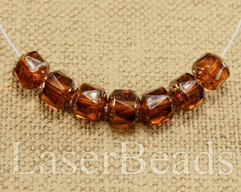Topaz cathedral beads 8mm 20pc Brown and bronze beads Faceted 8mm beads Fire polished czech beads Amber acorn beads