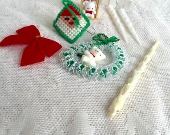 Vintage Christmas Tree Ornaments / Felted Bears Plastic Icicles Diamond Santa Set