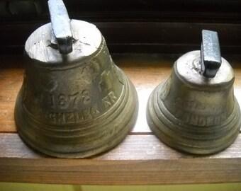 Vintage Brass Bells, Vintage 1878 Saignelegier Bells, 2 Hand Forged Chiantel Fondeur Bells, Primitive Bells, Farm Bells, Country Home