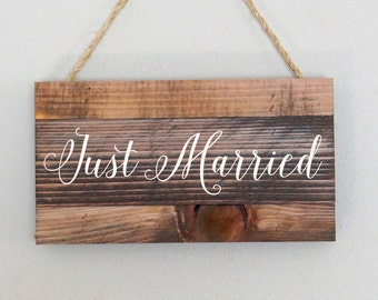 Just Married wedding decorations rustic wedding wedding signage rustic wedding decor stained wedding sign