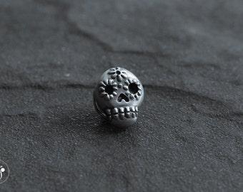 Sugar Skull silver tie tack lapel pin