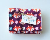 Fox Burp Cloths Woodland Animals Baby Girl Shower Gift Free Shipping Ready to Ship, Set of 2 or 3, Boutique Quality Handmade Flannel Burpees