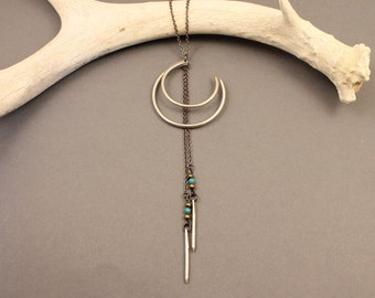 Sorcerer sterling silver crescent moon necklace with turquoise