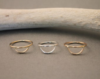 Arc stacking rings in gold, silver & rose gold- minimalist arc stackers