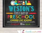 First Day Of Preschool Sign - Preschool Sign - Printable - 1st Day of Preschool Sign - Back to School Sign - 1st Day of School Chalkboard