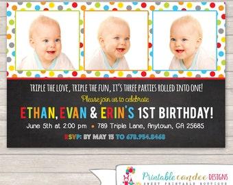 Triplet Birthday Invitation - Triplet Birthday - Triplet Invitation - Multiple Birthday - Multiples Invitation - Printable Triplet Party
