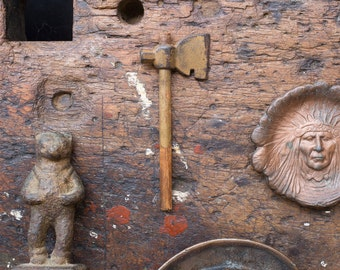 Vintage Home Decor / 1920's / Original Miniature Toy Hatchet / Antique Miniature Tomahawk / Desk Ornament / Salesman Sample
