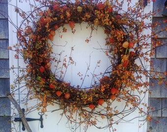 Extra Large Bittersweet Wreath With Japanese Lanterns