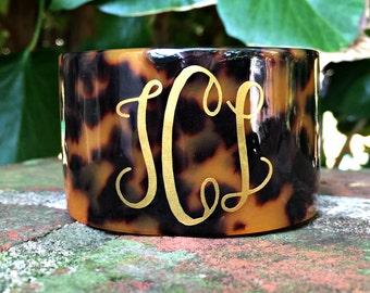 Monogrammed Tortoise Cuff Bracelet - Monogram Cuff Bracelet - Monogrammed Tortoise Shell Bracelet - Bridesmaids Gift Idea - Valentine's Gift