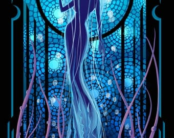 Jellyfish woman Art Deco style Illustration, Poster, Print, 11x17