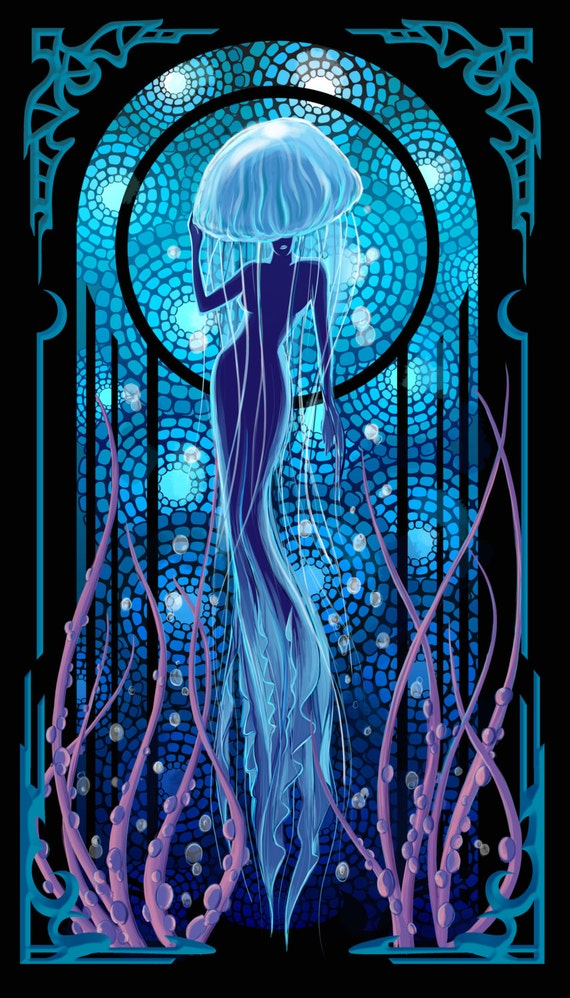 Jellyfish woman art deco style illustration poster print for Jelly fish art