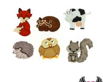 Jesse James Buttons 6 pc OUTDOOR FRIENDS Fox, Cat, Owl, Cow, Squirrel, Porcupine Buttons OR Turn them Into Flatback Decoden Cabochons (212)