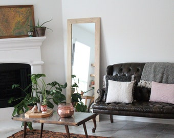 "Poplar Floor Mirror - Wardrobe Mirror - Wood Mirror - 24"" x 66"" Large Wall Mirror - Modern Home - Hurd and Honey"