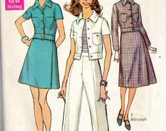"1970s Women's Front Wrap Skirt, Jacket and Pants- Size 14, Bust 36"" -Simplicity 8749"