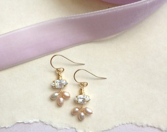 Crystal and Pearl 'Aveline' Earrings - Hand Wired Swarovski Crystal and Blush Freshwater Pearls