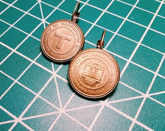 Boston, MA // Vintage Transit Token Earrings -- MBTA