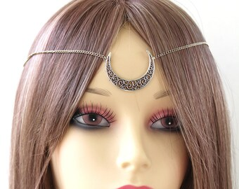 Silver Moon Crescent Chain circlet crown or necklace (Sailormoon inspired) Neo queen serenity,moon kingdom, medieval princess,wedding crown
