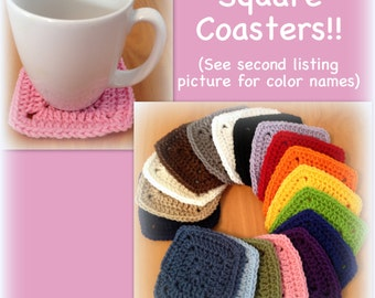 Square coasters, granny coasters, mug rug, mix and match, red, orange, yellow, blue, purple, pink, black, white, cream, green